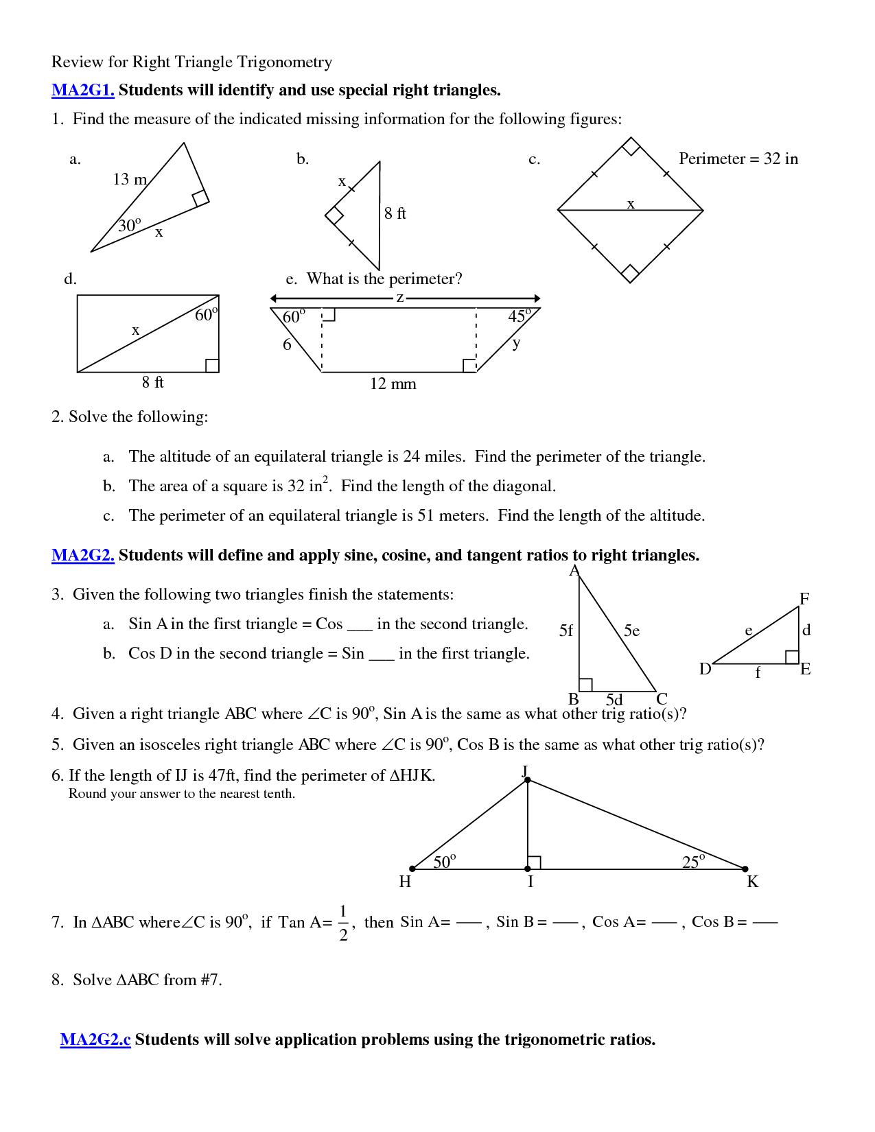 5 Best Images of Applications Of Trigonometry Worksheet  Graph Trig Functions Worksheet, Right