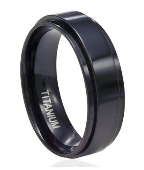 8mm Men's Black Titanium Spinner Ring with Flat Profile