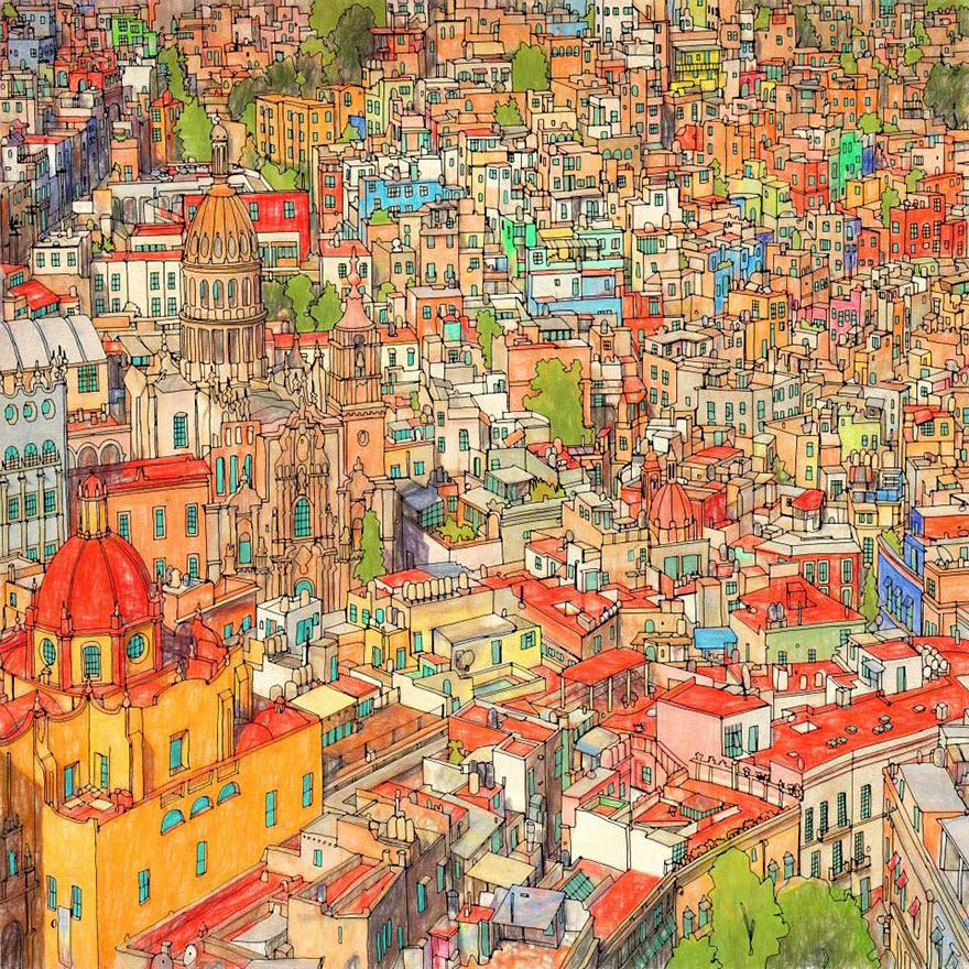 раскраски книга-взрослых-фантастические-города-Стив Макдональд-16