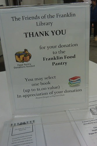 Book sale: Franklin Food Pantry donation earns a coupon for books