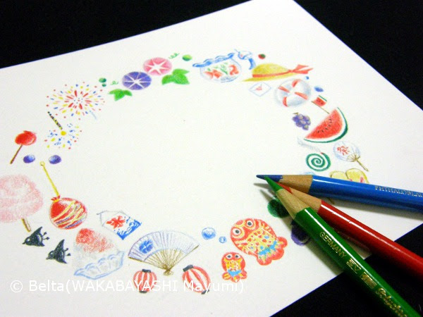 Beltaのcolored Pencil Gallery 色鉛筆ギャラリー イラスト 8月の
