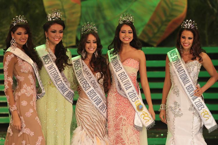 Las ganadoreas del certamen de belleza Miss Bolivia 2013