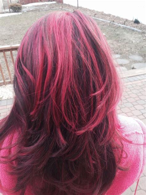 pink highlights  brown hair pink hair brown hair