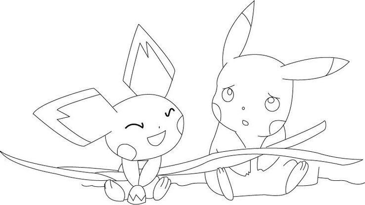 Coloriage Pikachu Et Pichu Coloriage Pokemon Coloriages Dessins
