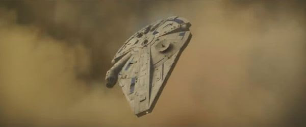 The Millennium Falcon enters the atmosphere of an unknown world in SOLO: A STAR WARS STORY.