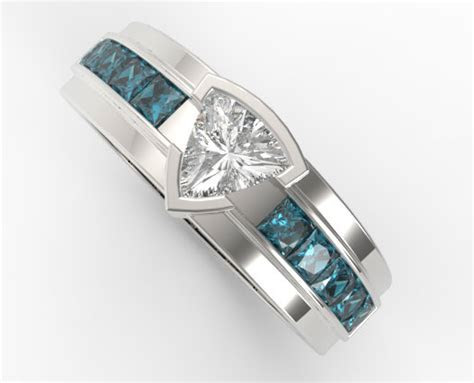 Mens Wedding Band Trillion Cut Diamond   Vidar Jewelry