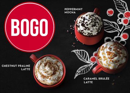 BOGO Holiday Beverages at Starbucks!