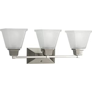 Progress Lighting P2743-09 3-Light Bath Fixture with Square Etched