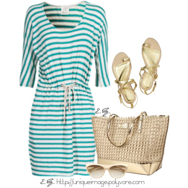 """Striped Jersey Dress"" by uniqueimage on Polyvore"