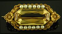 Hans Brassler citirne and pearl brooch. (J9445)