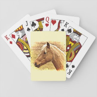 Blonde and Brown Horse Animal Playing Cards