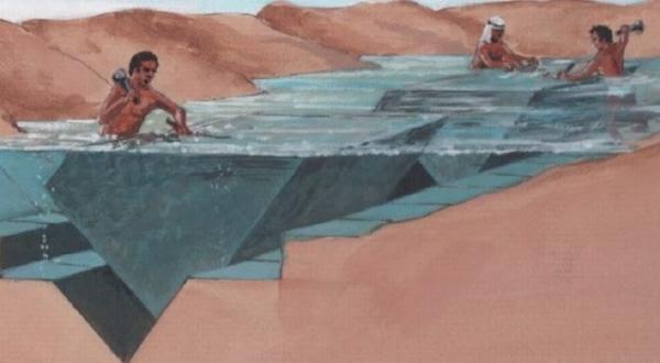 Các công nhân sẽ gia công đá bằng sức nước. (Ảnh: Internet)