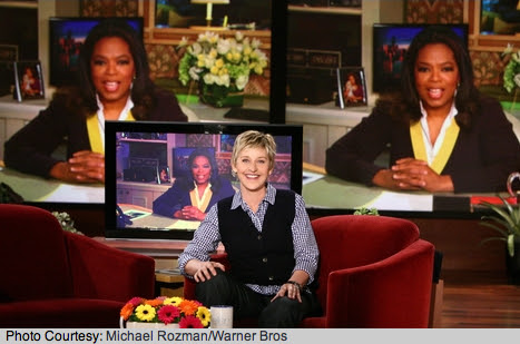 Oprah Winfrey invites Ellen DeGeneres to share 'O' magazine cover via Video Telephone