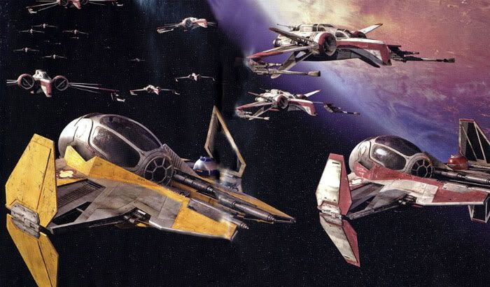 Above Coruscant, a squadron of ARC-170 Clonefighters follow Anakin Skywalker and Obi-Wan Kenobi's Jedi Starfighters into battle.