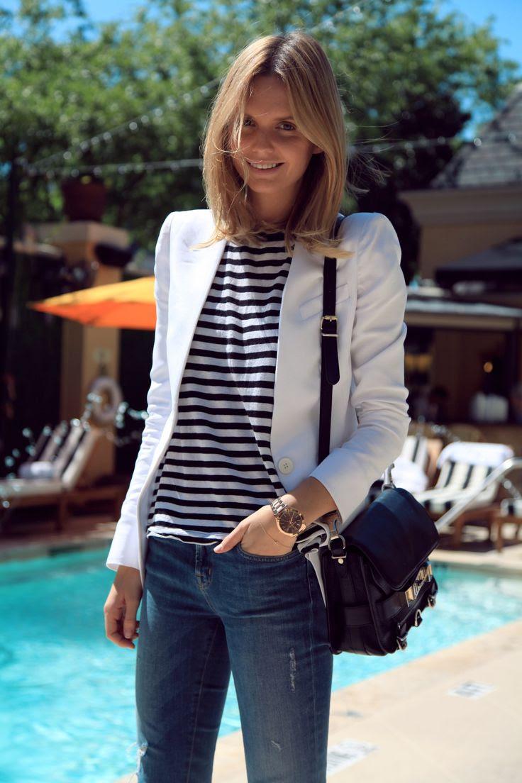 stripes, jeans + white blazer | tuula