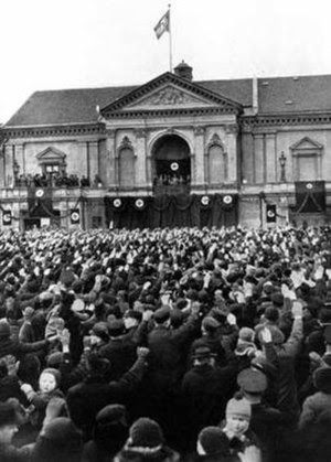 Adolf Hitler making a speech in Klaipėda/Memel...