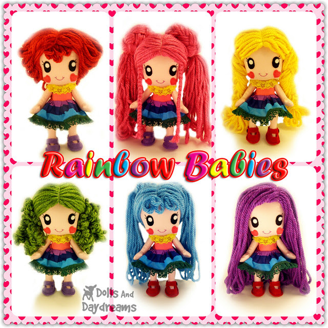 Kawaii Anime Manga Chibi Doll Sewing Pattern Rainbow Babies DIY Toy copy