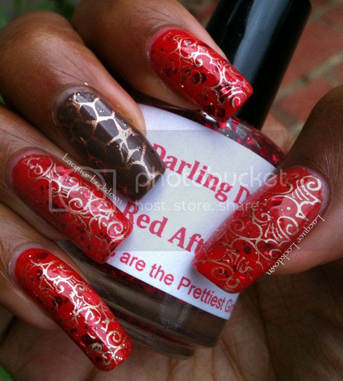 Lacquer Lockdown - Darling Diva Polish Red After The Woll, Spoiled Pumping Gas, Spoiled Breakfast In Red, nail art, stamping, Bundle Monster, BM312, BM313, Revlon Copper Penny