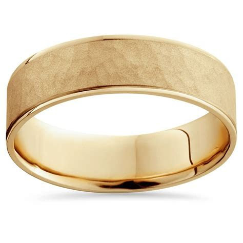 14K Yellow Gold Mens Brushed Hammered Wedding Band 6mm   eBay