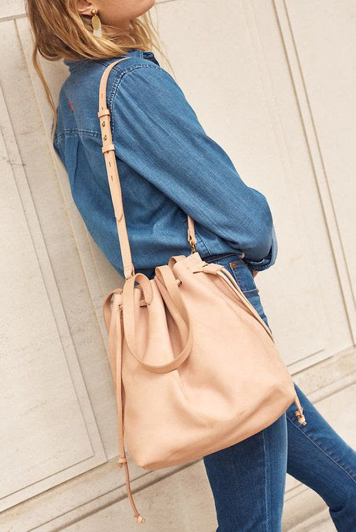 Le Fashion Blog Medium Drawstring Neutral Tote Bag Via Madewell