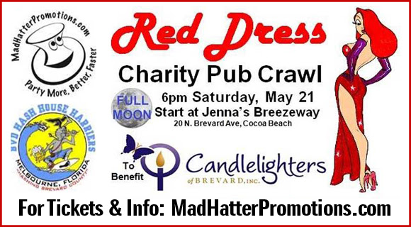 Don't miss the Full Moon Red Dress Charity Stroll on Saturday, May 21 that will benefit Candlelighters of Brevard.