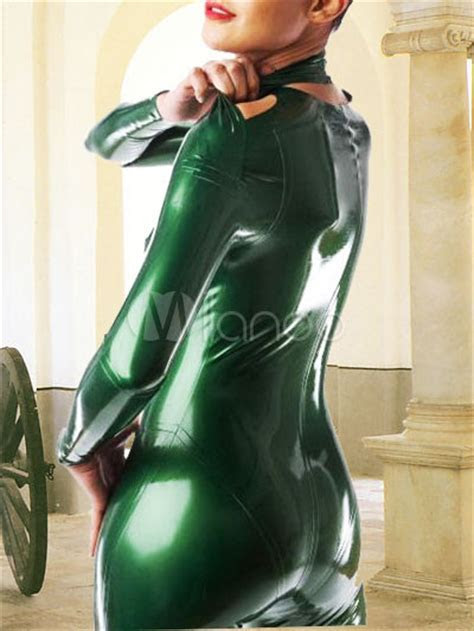 Green Latex Long Sleeves Catsuit   Milanoo.com