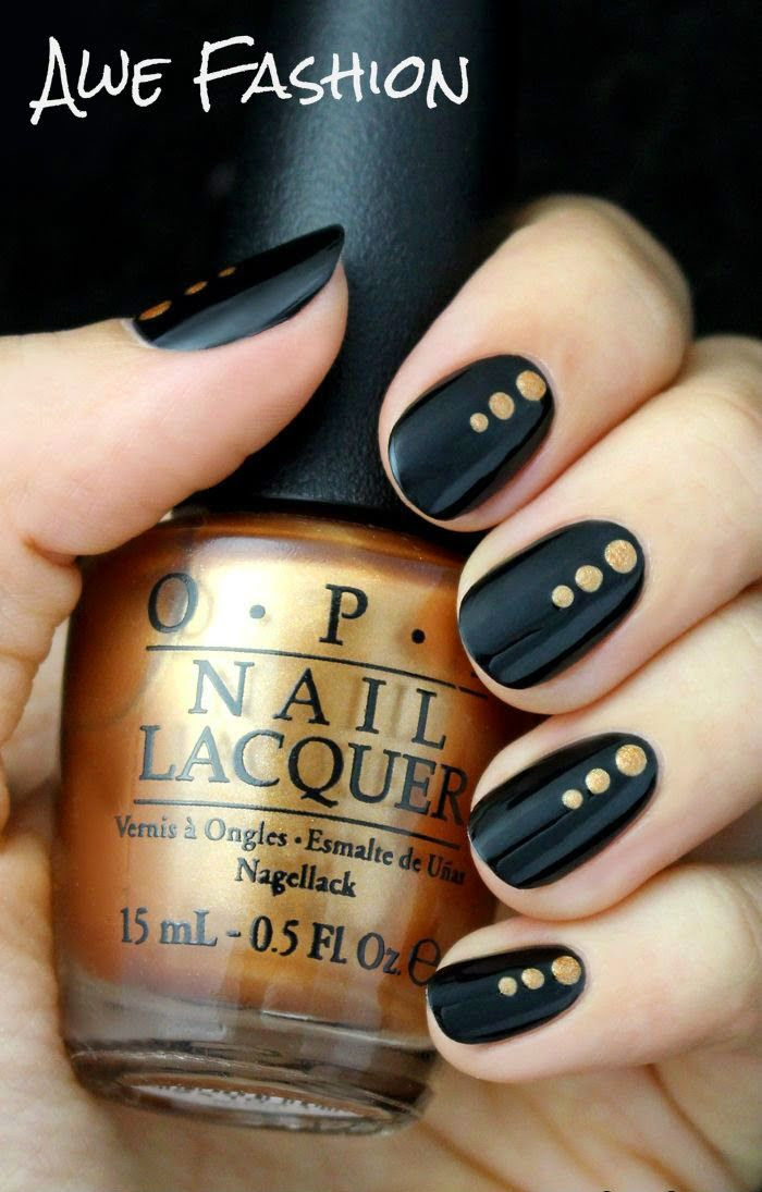 Black and Gold Dotted Nail Tutorial at Awefashion.blogspot.com