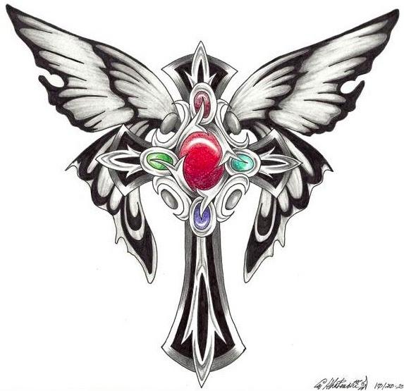 Butterfly Cross Shaped Tattoo Design By 0ravensrequiem0 Tattoomagz