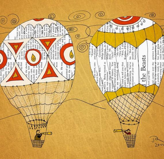 Travel hot air balloon Giclee Art Print Limited edition 12''x16'' (A3)by Juri Romanov Orange Optimist