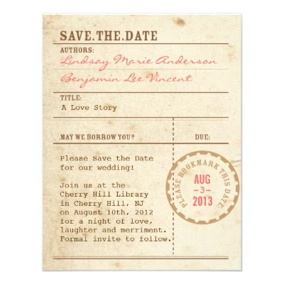 Library Card - Wedding Save the Date Invite