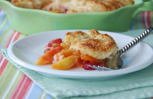apricot cherry cobbler plate fork
