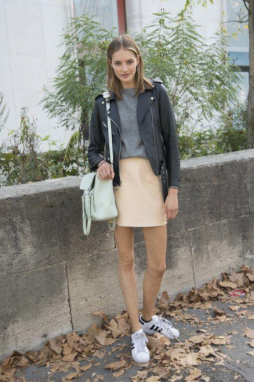 Le Fashion Blog 25 Ways To Wear Adidas Sneakers Leather Moto Jacket Grey Tee Neutral Mini Skirt Super Star Street Style Via Pop Sugar