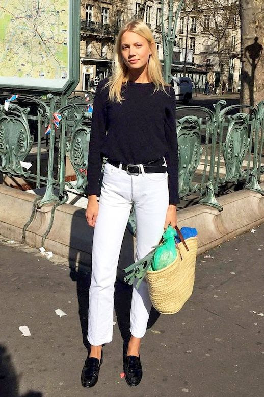 Le Fashion Blog Street Style Classic Spring Look Black Long Sleeve Tee Basket Bag Belted White Jeans Loafers Via @thomsenmichaela