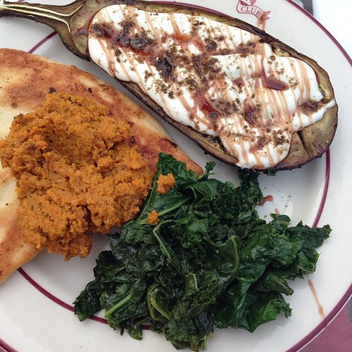 "The cover recipe from Plenty (Pom molasses instead of Pom seeds), carrot ""hummus"" from river cottage veg and sautéed kale. And naan. #dinner #awyeah"