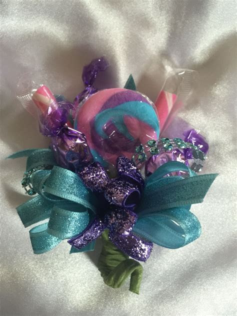 Candy corsages, How cute would this be for a ring bear