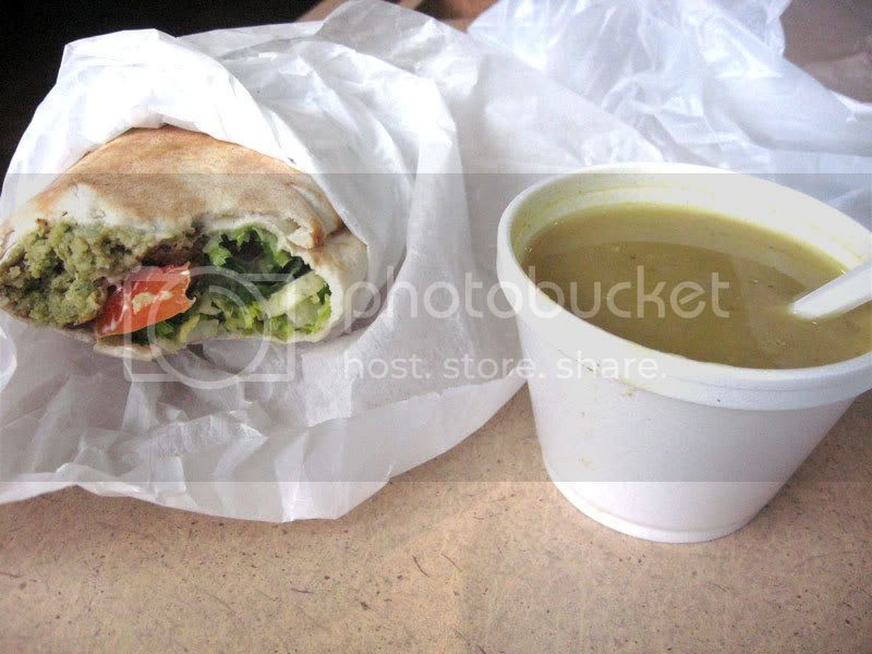 Falafel Sandwich and Lentil Soup
