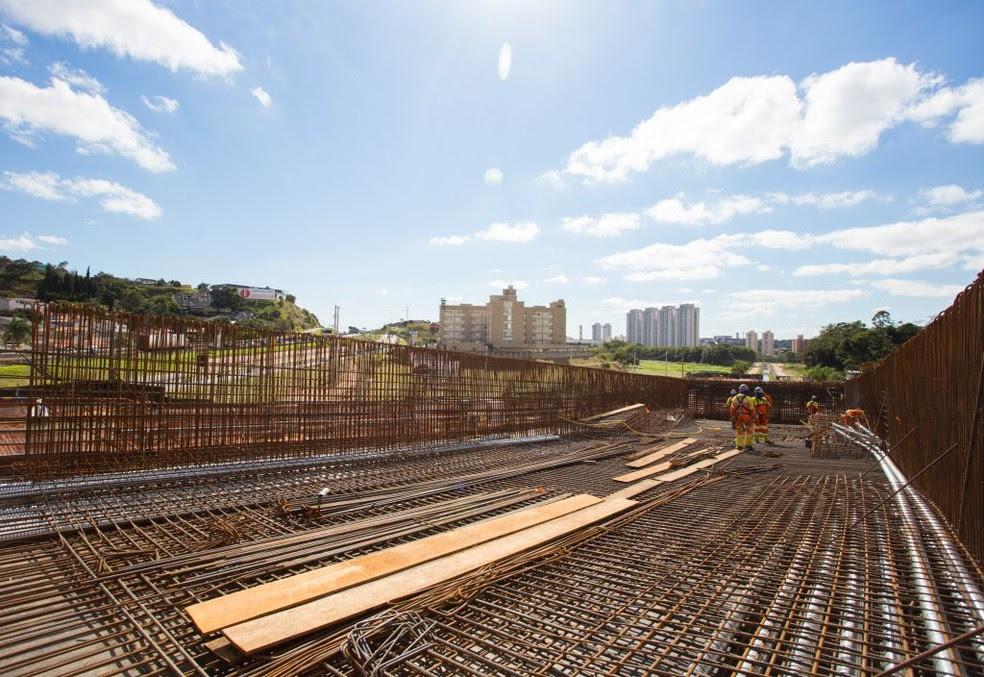 Obras do Complexo Viário Jundiaí, na Rodovia Anhanguera (Foto: Diogo Moreira/A2img)