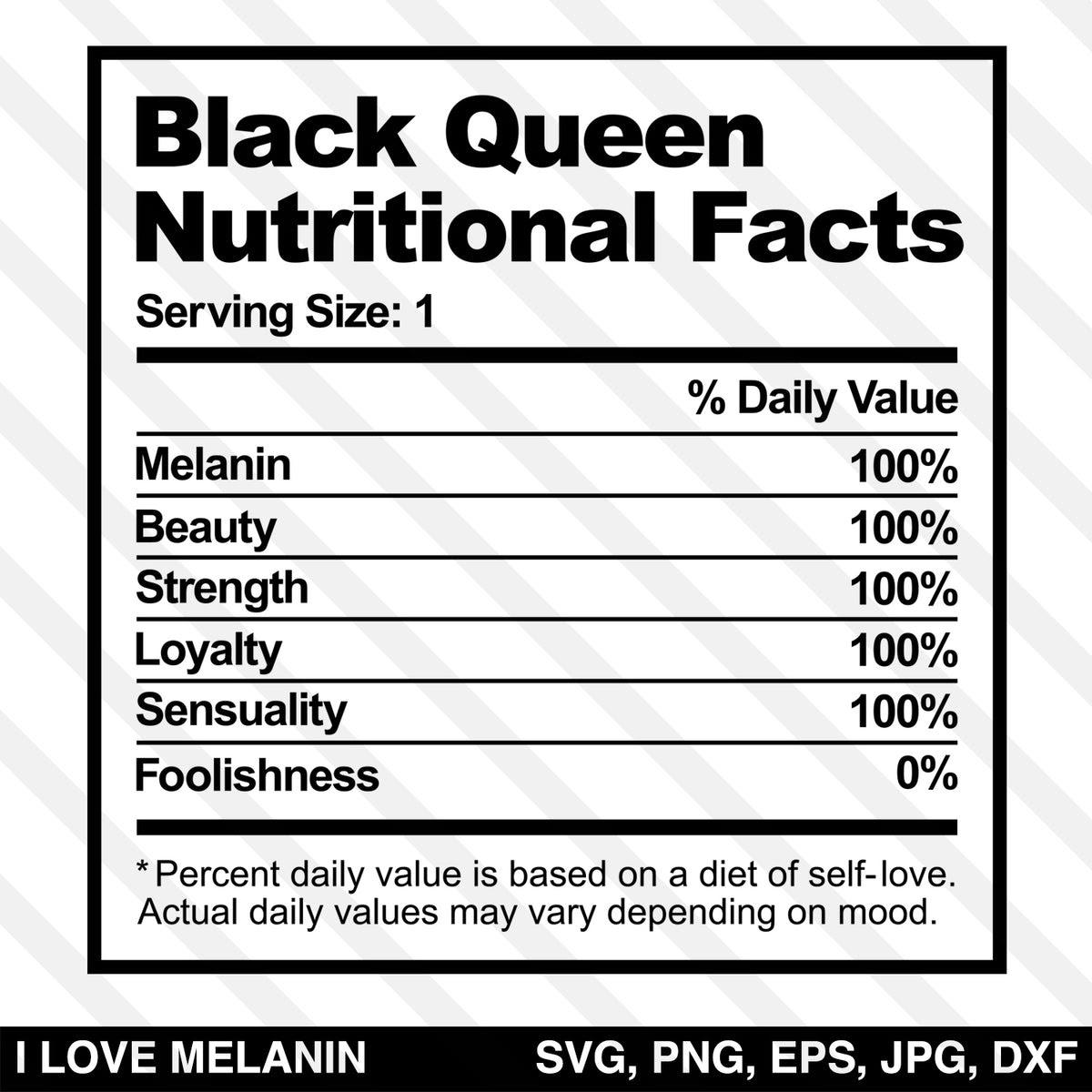 Download Black Queen Nutritional Facts SVG - I Love Melanin