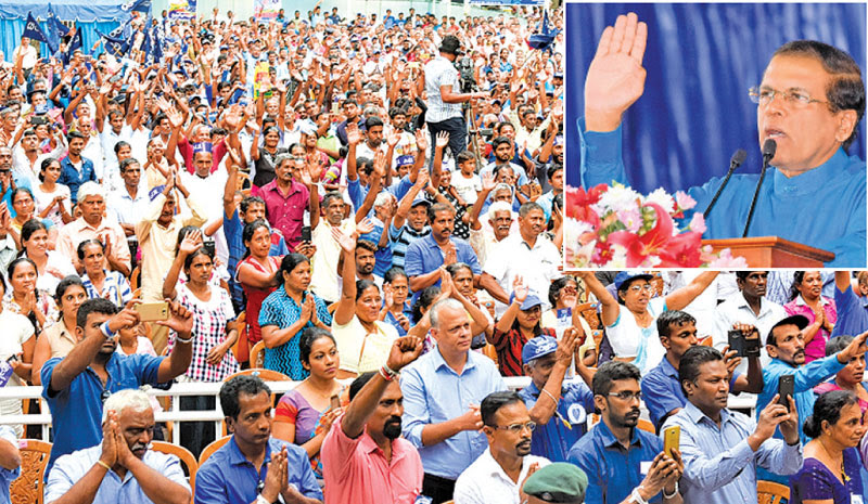 President Maithripala Sirisena addressing a United People's Freedom Alliance (UPFA) rally in Kandy yesterday. Pictures by Sudath Silva