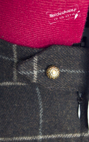 wełna, kratka, złoty gusik, pasek, szycie, krawiectwo, wykrój, krój, blog, maszyna, nici