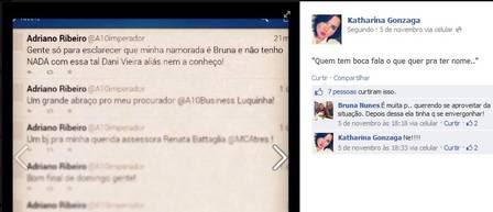 Prima da namorada de Adriano compartilha post do jogador negando affair com atriz de 'Sangue bom'
