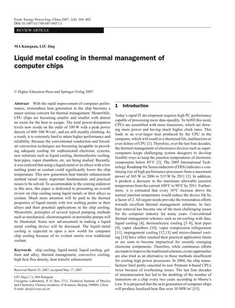 (PDF) Liquid metal cooling in thermal management of