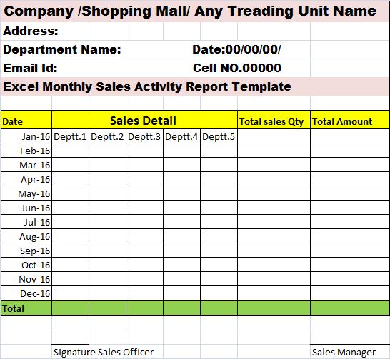 Daily Sales Activity Report Format Excel - Calendar June
