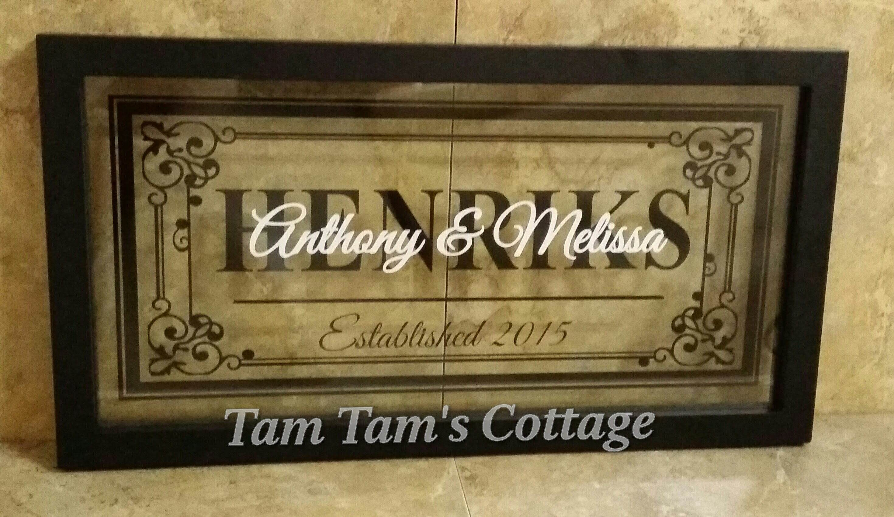 Family Name W Est Date Floating Frame 16x8 Tam Tams Cottage