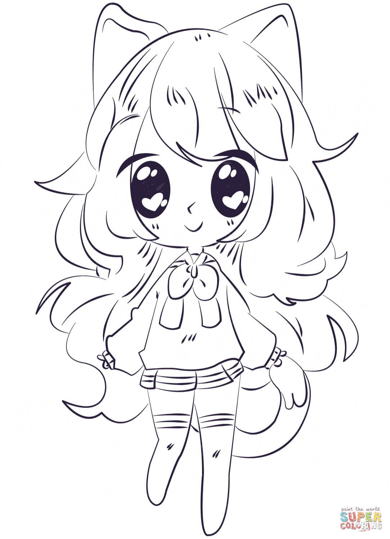 Kawaii Long Hair Anime Girl Coloring Pages Anime Wallpaper Hd