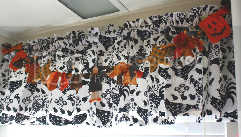 Halloween banner, country curtains, chicken curtains