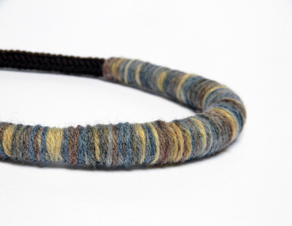 Chocolate brown and mixed colors knitted wool yarn necklace Camilla - dusty blue, cinnamon, creamy beige - ylleanna