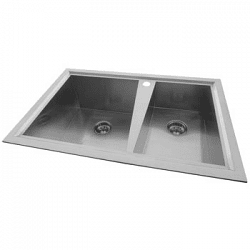 Presenza Handcrafted Offset Double Bowl Kitchen Sink Sale Prices