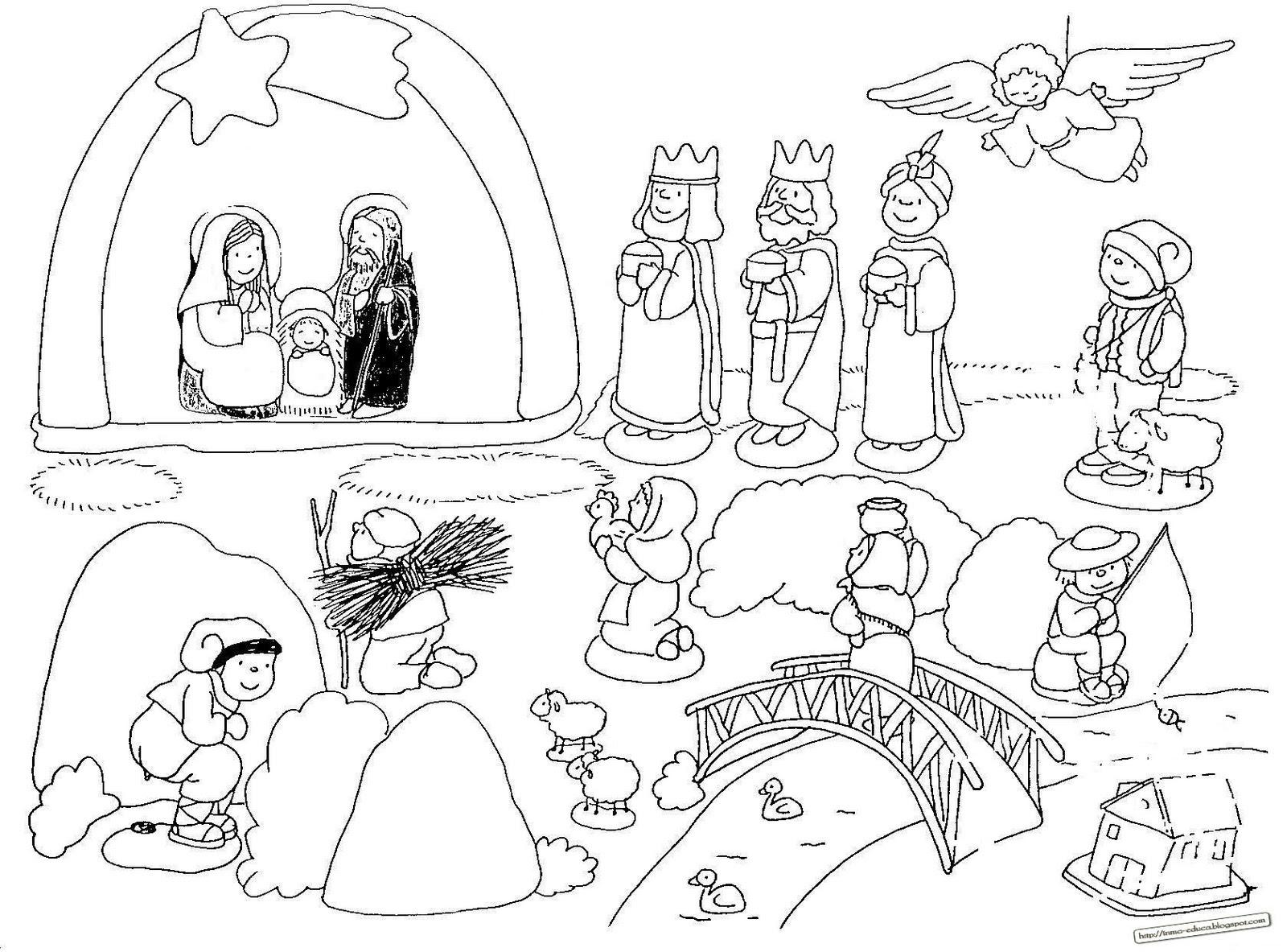 Resultado de imagen de dibujos de niños viendo un  belén