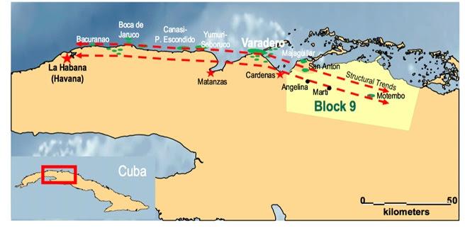 Vista general del mapa a gran escala de Cuba ilustrando la ubicación del bloque, la tendencia regional más amplia asociado con la geología y algunos de los campos de últimas tendencias ya descubiertos. Fuente MEO Australia.